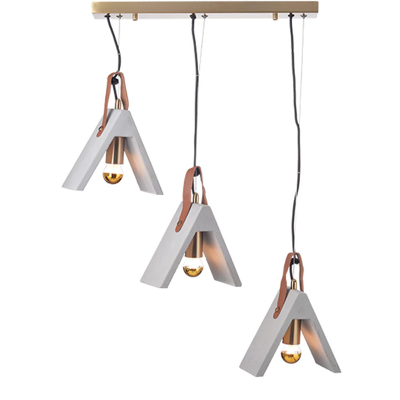 Κρεμαστό φωτιστικό οροφής-ράγα τρίφωτο 3xE27 σε φυσικό & ορείχαλκο χρώμα Aca Decor DCR171193PS