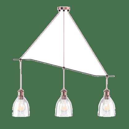 Κρεμαστό φωτιστικό ράγα τρίφωτο 3xE27 γυάλινο με λεπτομέρειες χαλκού DD-GL-0539-3R