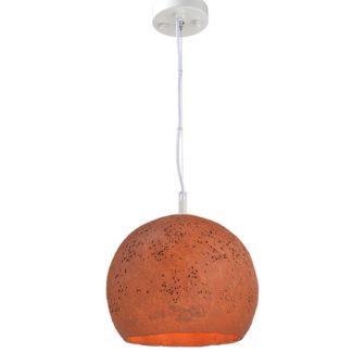Κρεμαστό φωτιστικό μονόφωτο σε πορτοκαλί χρώμα από πηλό Aca V372251PRD