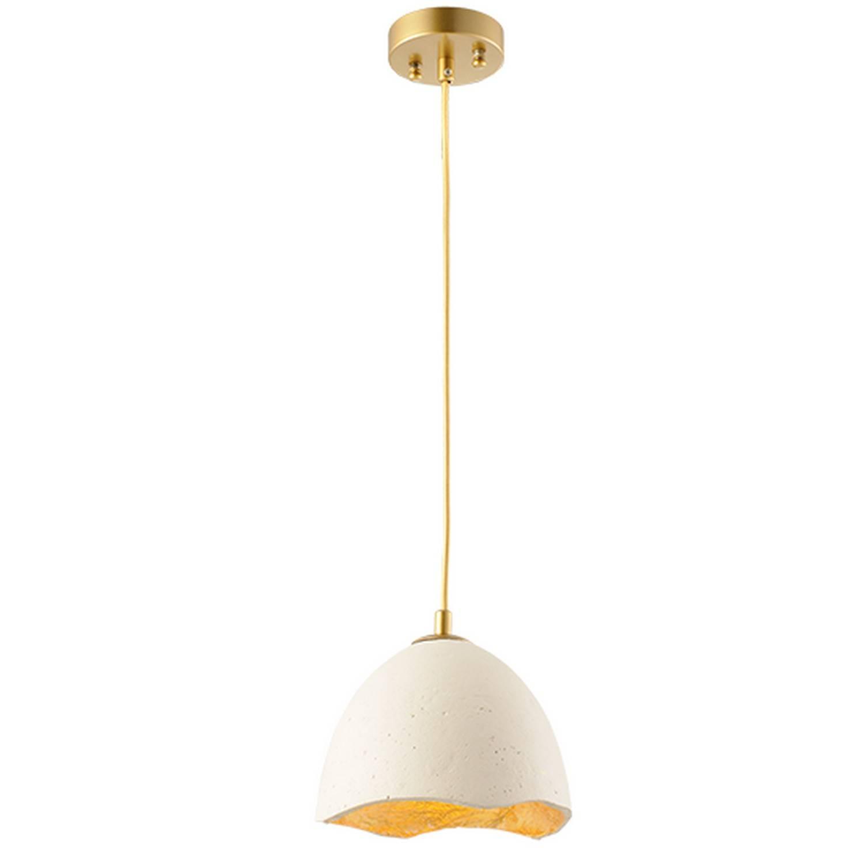 Κρεμαστό φωτιστικό μονόφωτο 1xE27 σε λευκό-χρυσό από πηλό Aca V3722201PWG