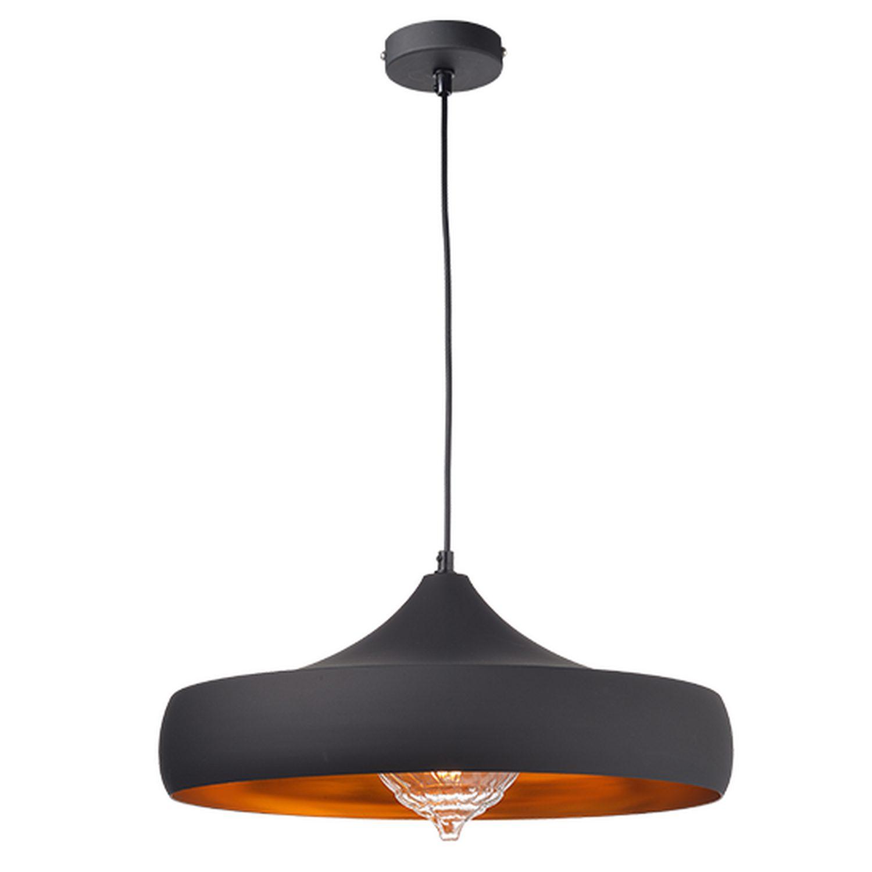 Κρεμαστό φωτιστικό μονόφωτο 1xE27 σε μαύρο χρώμα Aca KS07961PBG