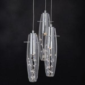 Κρεμαστό φωτιστικό τρίφωτο από κρύσταλλο και γυαλί Aca Clear VANI309LEDP