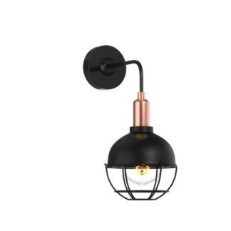 Φωτιστικό Τοίχου, Χρώμα Μαύρο με λεπτομέρειες χαλκού Διάμ.15Cm DB-MA-0302