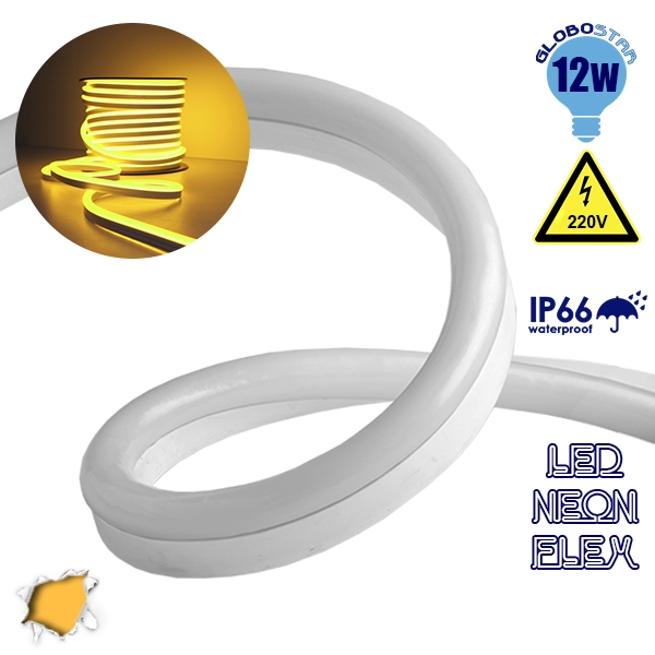 NEON FLEX LED Λευκή 1m 12W/m 230V 120 SMD/m 2835 SMD 450lm/m 120° Αδιάβροχη IP66 Πορτοκαλί Χρυσό Dimmable GloboStar 22507