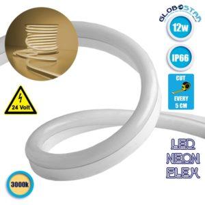 NEON FLEX LED Λευκή 1m 12W/m 24V 120 SMD/m 2835 SMD 880lm/m 120° Αδιάβροχη IP66 Θερμό Λευκό 3000k Dimmable GloboStar 22620
