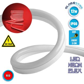 NEON FLEX LED Λευκή 1m 12W/m 24V 120 SMD/m 2835 SMD 450lm/m 120° Αδιάβροχη IP66 Κόκκινο Dimmable GloboStar 22621
