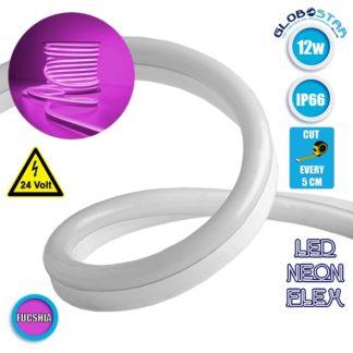 NEON FLEX LED Λευκή 1m 12W/m 24V 120 SMD/m 2835 SMD 450lm/m 120° Αδιάβροχη IP66 Φούξια Dimmable GloboStar 22625