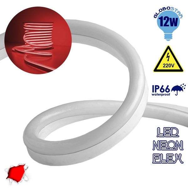 NEON FLEX LED Λευκή 1m 12W/m 230V 120 SMD/m 2835 SMD 450lm/m 120° Αδιάβροχη IP66 Κόκκινο Dimmable GloboStar 22503