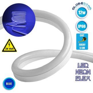 NEON FLEX LED Λευκή 1m 12W/m 24V 120 SMD/m 2835 SMD 450lm/m 120° Αδιάβροχη IP66 Μπλε Dimmable GloboStar 22623