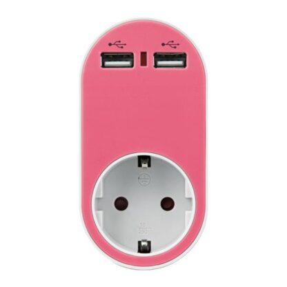 ΑΝΤΑΠΤΟΡΑΣ ΣΟΥΚΟ ΜΕ 2 USB ΡΟΖ, ΜΕ ΠΡΟΣΤΑΣΙΑ ΥΠΕΡΤΑΣΗΣ & ΠΑΙΔΙΚΗ ΠΡΟΣΤΑΣΙΑ 147-09011