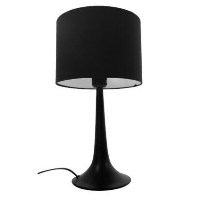 Μοντέρνο Επιτραπέζιο Φωτιστικό Πορτατίφ Μονόφωτο Μεταλλικό με Μαύρο Καπέλο Φ25 GloboStar AMBROSIA BLACK 01394