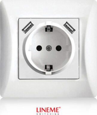 Πρίζα σούκο χωνευτή τοίχου με 2 θύρες USB 5.1VDC/2.1A σε Λευκό Lineme 50-00133-1