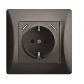 Πρίζα σούκο χωνευτή τοίχου με 2 θύρες USB 5.1VDC/2.1A σε Μαύρο LINEME 50-00133-2