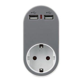 ΑΝΤΑΠΤΟΡΑΣ ΣΟΥΚΟ ΜΕ 2 USB ΓΚΡΙ, ΜΕ ΠΡΟΣΤΑΣΙΑ ΥΠΕΡΤΑΣΗΣ & ΠΑΙΔΙΚΗ ΠΡΟΣΤΑΣΙΑ 147-09010