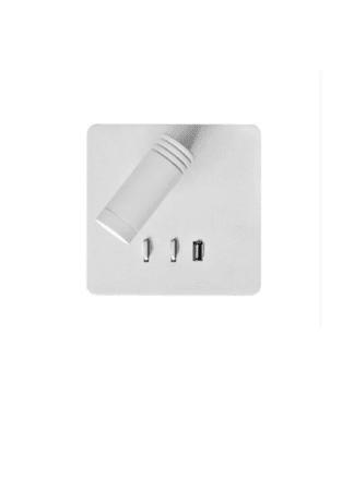Απλίκα τετράγωνη με usb led σε λευκό χρώμα Fosme 17-00669-1