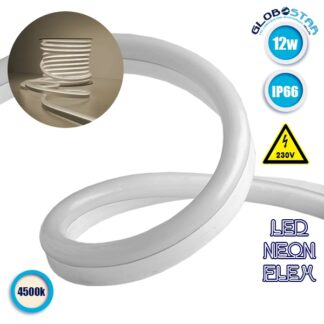 NEON FLEX LED Λευκή 1m 12W/m 230V 120 SMD/m 2835 SMD 930lm/m 120° Αδιάβροχη IP66 Φυσικό Λευκό 4500k Dimmable GloboStar 22506