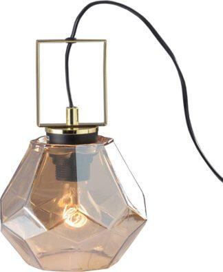Επιτραπέζιο φωτιστικό σε κεχριμπάρι & χρυσό χρώμα με PVC μαύρο καλώδιο Aca Decor V371481TA