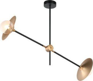 Κρεμαστό φωτιστικό δίφωτο 2ΧG9 από ορείχαλκο σε μαύρο χρώμα Aca Decor HL4322C84BB