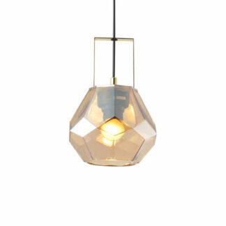 Κρεμαστό φωτιστικό μονόφωτο σε κεχριμπάρι & ορείχαλκο χρώμα Aca Decor V371481PA