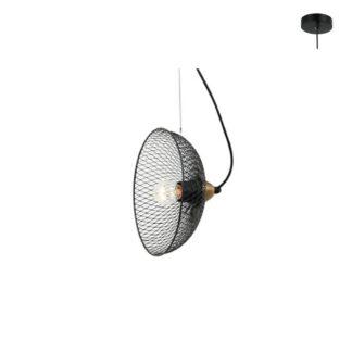 Κρεμαστό φωτιστικό μονόφωτο 1xE27 σε μαύρο χρώμα Aca Decor HL45841P24B