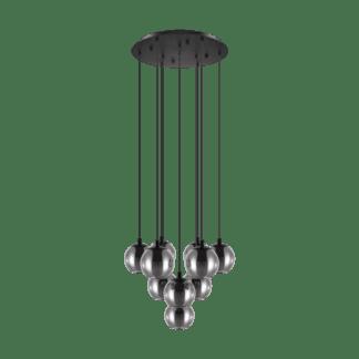 Κρεμαστό φωτιστικό δεκάφωτο από ατσαλι & γυαλί σε χρώμα διαφανές μαύρο Ariscani Eglo 98654