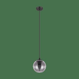 Κρεμαστό φωτιστικό μονόφωτο από ατσαλι & γυαλί σε χρώμα διαφανές μαύρο Ariscani Eglo 98651