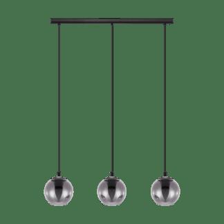 Κρεμαστό φωτιστικό-ράγα τρίφωτο από ατσαλι & γυαλί σε χρώμα διαφανές μαύρο Ariscani Eglo 98652