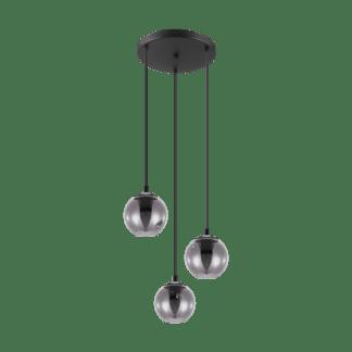 Κρεμαστό φωτιστικό τρίφωτο 3xE27 από ατσαλι & γυαλί σε χρώμα διαφανές μαύρο Ariscani Eglo 98653