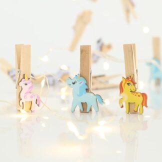 20 Led σειρά με ξύλινα αλογάκια με clip ανά 10cm σε θερμό λευκό φως 600-11293