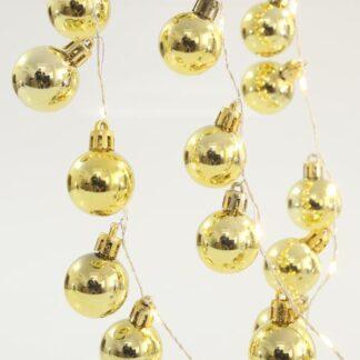 36 Led σειρά με χρυσές μπάλες ανά 5cm σε θερμό λευκό φως & χάλκινο σύρμα 600-11286