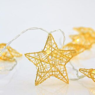 10 led σειρά με χρυσά μεταλλικά αστέρια ανα 15cm, σε θερμό λευκό 600-11262