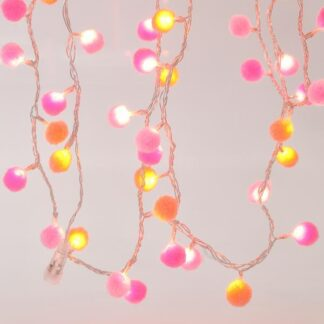 100 Led σειρά με ροζ υφασμάτινες μπάλες ανα 5 cm σε θερμό φως , με διάφανο καλώδιο , IP44 600-11289