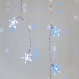 Κουρτίνα με ακρυλικά αστέρια με διάφανο καλώδιο , 90 λευκά και μπλε led 600-11402