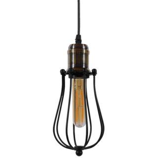 Vintage Industrial Κρεμαστό Φωτιστικό Οροφής Μονόφωτο Μαύρο Μεταλλικό Πλέγμα Φ11 GloboStar CAMBER 01016