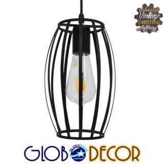 Vintage Industrial Κρεμαστό Φωτιστικό Οροφής Μονόφωτο Μαύρο Μεταλλικό Πλέγμα Φ15 GloboStar ZEBRA BLACK 01062