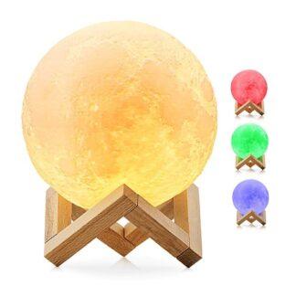 Επαναφορτιζόμενο Διακοσμητικό Ανάγλυφο Φωτιστικό Αφής 3D Moon 12cm RGBW Ντιμαριζόμενο με Ασύρματο Χειριστήριο GloboStar 07029