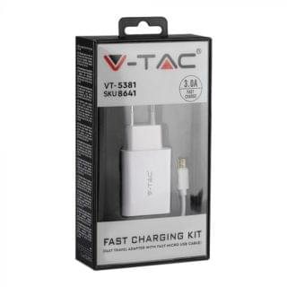 Φορτιστης - Ταχυφορτιστής ταξιδίου με προσαρμογή MICRO USB καλωδίου, Λευκό σώμα 8641