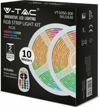 Σετ ταινίας LED SMD5050 RGB IP20 4.8W/μέτρο (2×5 μέτρα) με τροφοδοτικό και controller 2630