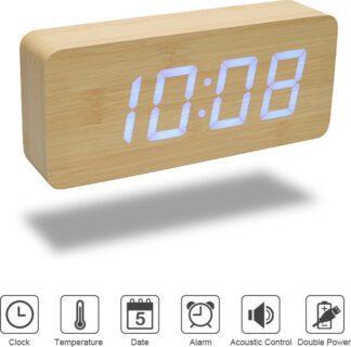 Ξύλινο ψηφιακό ρολόι & ξυπνητήρι παραλληλόγραμμο 5005