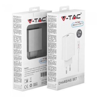 Συσκευή φόρτισης ταξιδίου με προσαρμογή καλωδίου MICRO USB, Λευκό σώμα VTAC 8645